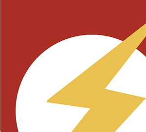 A yellow lightning bolt in a white circle on a red background.