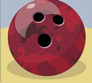 A large maroon bowling ball.