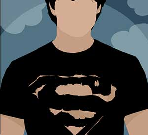 A man wearing a black Superman shirt.