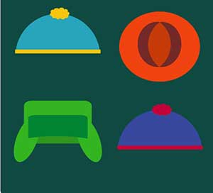 A blue hat, a green hat, an orange hat, and a dark blue and pink hat.