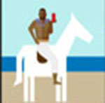 A man on a white horse  The answer is: Old Spice