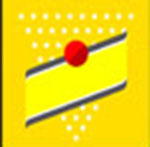 A yellow background with a red dot   The answer is: Schweppes