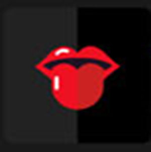 Red lips with a red tongue .