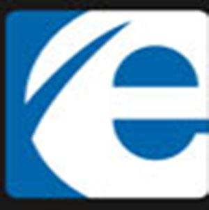 A white letter E .