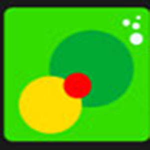 A yellow and green circle with a red circle .