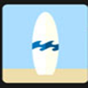 A white surfboard .