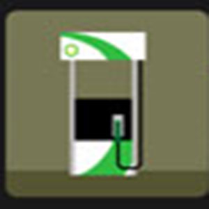 A green gas pump .