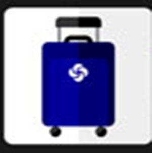 A blue suitcase .