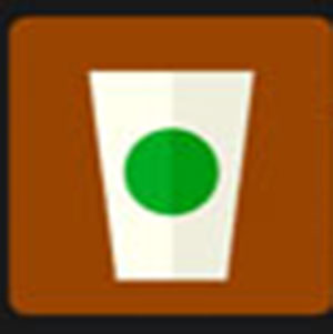 A white cup with a green dot .